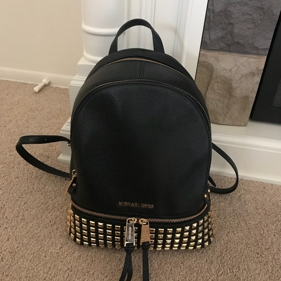 97557feaf6d89 Michael Kors Rhea Medium Studded Leather Backpack.  M 5acd977536b9dea330d96088